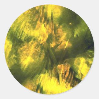 Mottled greenish yellow round stickers