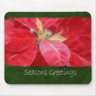Mottled Red Poinsettias 2 - Seasons Greetings Mouse Pad
