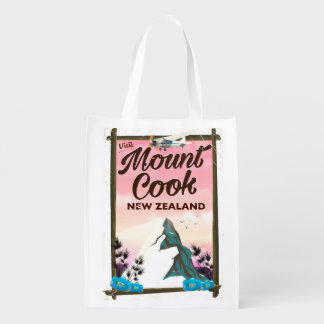 Mount Cook New Zealand travel poster Reusable Grocery Bag