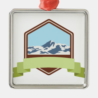 Mount Everest Silver-Colored Square Decoration
