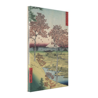 Mount Fiji and Maple Leaves - Vintage Japanese Stretched Canvas Print
