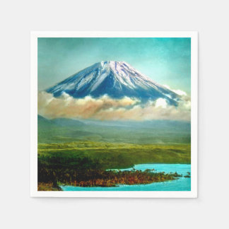 Mount Fuj beyond Lake Motos Vintage Japan 富士山 Disposable Napkins