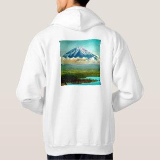 Mount Fuj beyond Lake Motos Vintage Japan 富士山 Hoodie