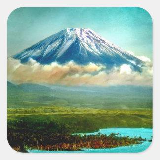 Mount Fuj beyond Lake Motos Vintage Japan 富士山 Square Sticker