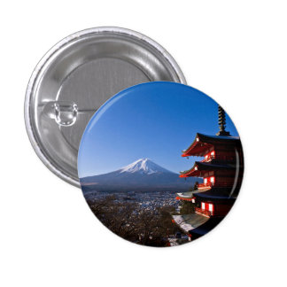 Mount Fuji and red pagoda Button