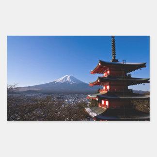 Mount Fuji and red pagoda Rectangular Sticker