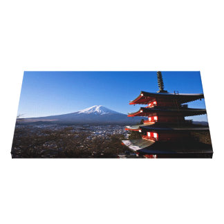 Mount Fuji and red pagoda Stretched Canvas Print