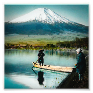 Mount Fuji from Lake Yamanaka 富士 Vintage Photo Print