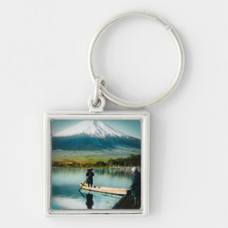 Mount Fuji from Lake Yamanaka 富士 Vintage Silver-Colored Square Key Ring