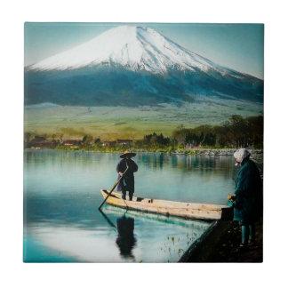 Mount Fuji from Lake Yamanaka 富士 Vintage Tile