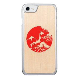 Mount Fuji Retro Case. Red Japanese Print Carved iPhone 8/7 Case