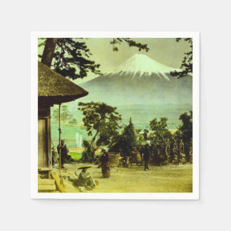 Mount Fuji through the Pines of Suzukawa Vintage Paper Napkin