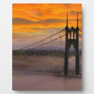 Mount Hood by St Johns Bridge during Sunrise Plaque