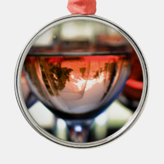 Mount Hood in a Wine Glass Silver-Colored Round Decoration