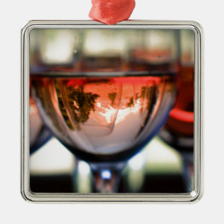 Mount Hood in a Wine Glass Silver-Colored Square Decoration