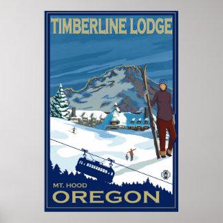 Mount Hood, Oregon Ski Poster - Timberline Lodge