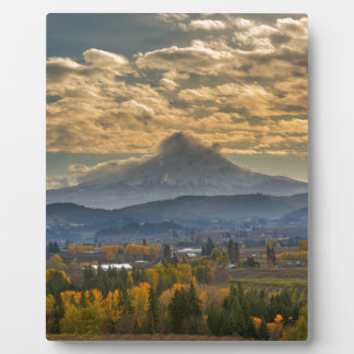 Mount Hood Over Farmland in Hood River in Fall Plaque