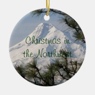 Mount Hood Photo Ceramic Christmas Ornament