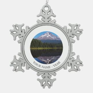 Mount Hood Reflected in Lake Pewter Snowflake Decoration