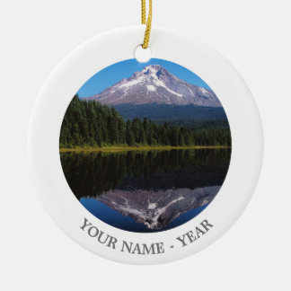 Mount Hood Reflected in Lake Round Ceramic Decoration