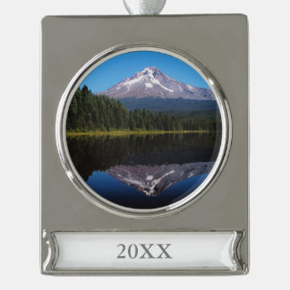 Mount Hood Reflected in Lake Silver Plated Banner Ornament