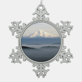Mount Hood with Low Lying Fog Over Portland Oregon Pewter Snowflake Decoration