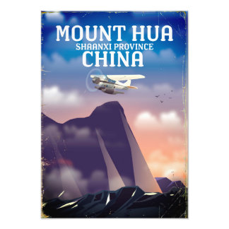 Mount Hua China vintage flight poster