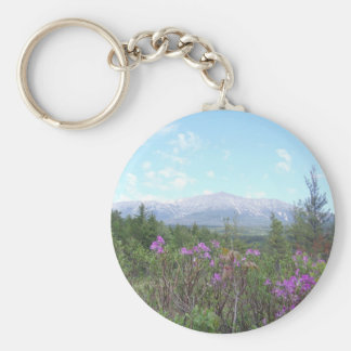 Mount Katahdin and wild flowers Key Ring