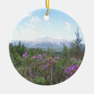 Mount Katahdin and Wildflowers Ceramic Ornament