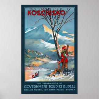 Mount Kosciusko Vintage Travel Poster Restored
