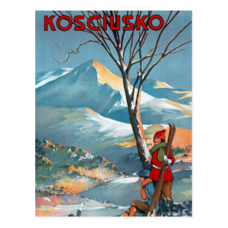 Mount Kosciusko Vintage Travel Poster Restored Postcard