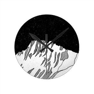 Mount Puncak Jaya black and white Round Clock