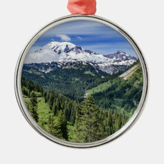 Mount Rainer Silver-Colored Round Decoration