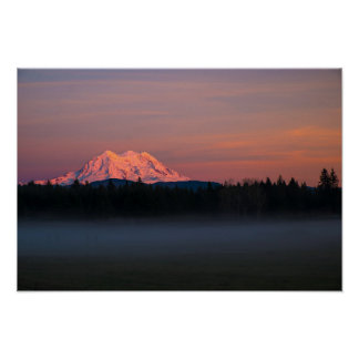 Mount Rainer sunset and mist Poster