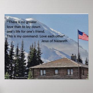 Mount Rainier, American Flag, John 15 Poster