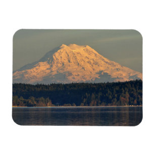 Mount Rainier and Case Inlet at Dusk Magnet