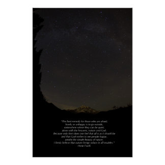 Mount Rainier and Milky Way with Quote - Large Poster
