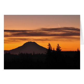 Mount Rainier and the Crescent Moon Card