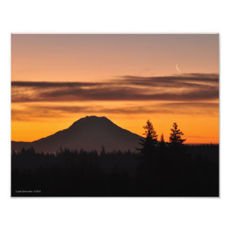 Mount Rainier and the Crescent Moon Photo Print