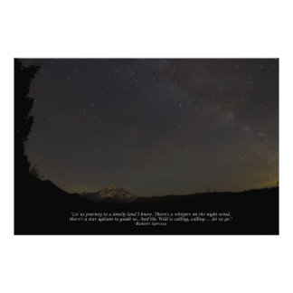 Mount Rainier and The Milky Way with Quote - Large Poster