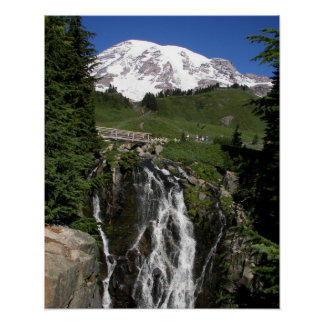 Mount Rainier and Waterfall Photo w/Border Poster