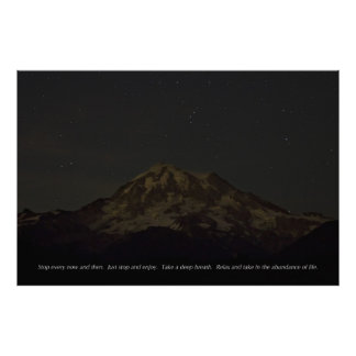 Mount Rainier at Night with Stars and Quote Large! Print