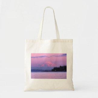 Mount Rainier at sunset Tote Bag