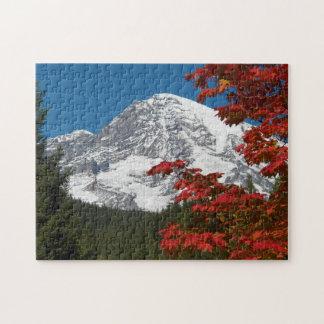 Mount Rainier Autumn Leaves Photo Jigsaw Puzzle