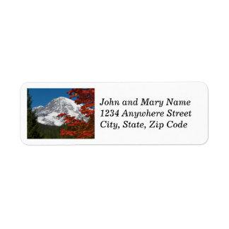 Mount Rainier Autumn Leaves Photo Return Address Label