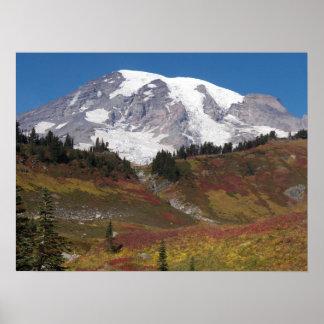 Mount Rainier Autumn Meadow Photo Poster