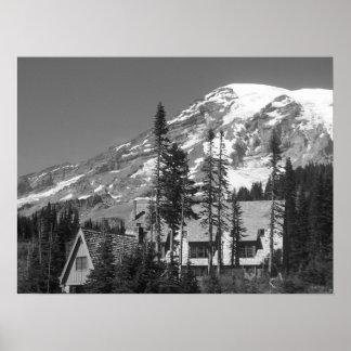 Mount Rainier B W Posters
