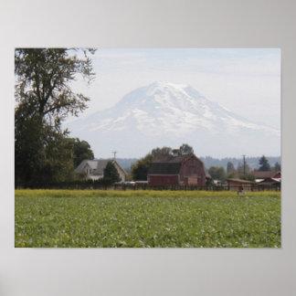 Mount Rainier Barn Poster