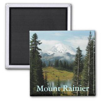Mount Rainier Mountain Portrait Square Magnet