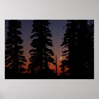 Mount Rainier National Park, Crescent Moon Poster